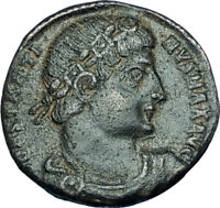 CONSTANTINE I the GREAT 330AD Authentic Ancient Roman Coin w SOLDIERS i65970