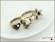 Bague Style Vintage 2 Doigts Tête de Mort_Coeur_Etoiles Métal Couleur Bronze