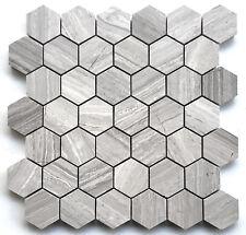"Athens White 2"" Hexagon Marble Mosaic Wall and Floor Tile Backsplash Kitchen"