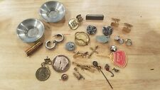 Misc Junk Draw lot of vintage Jewelry pins cufflinks tieclips & other misc items