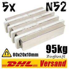 5x Neodym Magnete Quader 80x20x10mm 8x2x1cm N52 95kg starke flache Dauermagnete