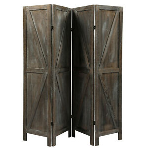 Upscale Rustic 4 Panel Solid Wood Folding Room Divider and Privacy Screen