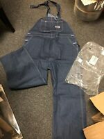 Men's Vintage BIG MAC Blue Denim Carpenter Bib Overall 44x30 NOS