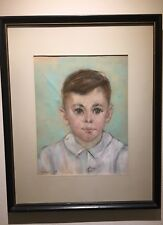 Listed Artist M. Boros Segal 1965 Framed Pastel Portrait of Young Boy. Painting