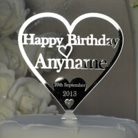 Happy Birthday Cake Topper Personalised Name Date Acrylic Heart Decoration Gift