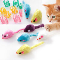 Pet Cat Kitten Furry Toy Mice Rattle Mouse Plastic spring Interactive Play Fun