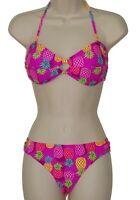 California Waves pink bandeau bikini size L swimsuit new
