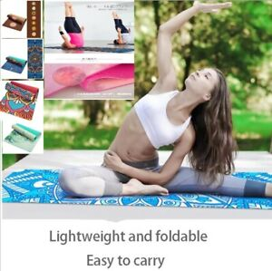 6 MM Lotus Pattern Suede TPE Yoga Mat Pad Non-slip Slimming Exercise Fitness Gym