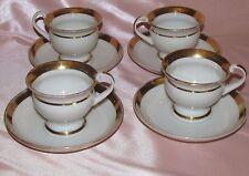 Série de 4 tasses thé café porcelaine de Paris blanche doré Louis Philippe