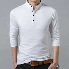 Men T-shirt Slim Fit Stand Collar tshirt Long Sleeve T Shirt Cotton Men's Tees
