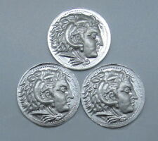 3 x 1/4 oz 999 Silver Alexander Proof-like Quarter Round 'Tetradrachm' design