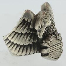 Estate Vintage Mens Sterling Silver 925 USA American Bald Eagle Motorcycle Ring