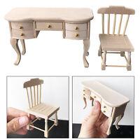 Realistische 1: 12 Puppenhaus Schreibtisch Stuhl Miniatur Wohnzimmer Kinder