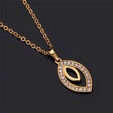 Damen Halskette Gold Strass-Steine Anhänger Kette Schmuck Geschenk 18k vergoldet