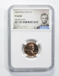 PF68 RD 1960 Lincoln Memorial Cent - SMALL DATE - Graded NGC *813