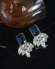 Boucles d'Oreilles Clips Argenté Puces Art Deco Carré Bleu Marine Original J1