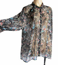 Monsoon UK size 16 long sleeve woman's shirt, semi-transparent floral fabric