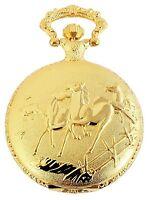 Taschenuhr Weiß Gold Pferde Analog Quarz Herrenuhr D-50742408732299
