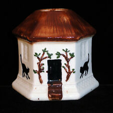 Staffordshire Figural Cottage with Black Cats & Dog c1880