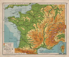 1928 MAP ~ FRANCE PHYSICAL ~ HEIGHTS & DEPTHS