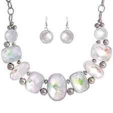 Neck Earrings Set Silver tone Abalone Shell Gemstone with Opal-like Clear Stone