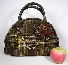 Juicy Couture Bowling Bag Purse Brown Green Plaid Tweed Flower + Dust Bag EXCLNT