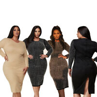 New Plus Size Women Round Neck Long Sleeve Beaded Slit Bodycon Solid Dress