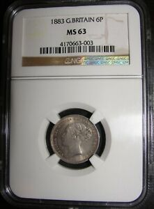 Scarce 1883 Queen Victoria Great Britain Silver Sixpence 6 Pence 6D NGC MS63