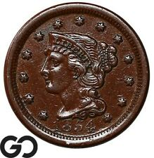 1854 Large Cent, Braided Hair, Choice Au Early Collector Copper