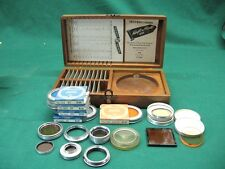 Lot of HARRISON LIGHT CORRECTION GLASS FILTERS W/ CASE + MISC PIECES