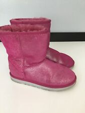 Ugg Womens Boots Shoes Pink Glitter Sheepskin Size Uk 3 Eu 34