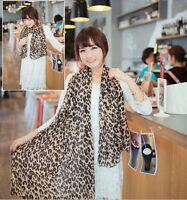 Long Style Chiffon Silk Georgette Soft Gauz Scarf Wrap Shawl Leopard Scarves