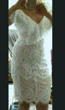 White Lace Overlay Nude Pencil Dress by City Goddess size 12 Bnwt