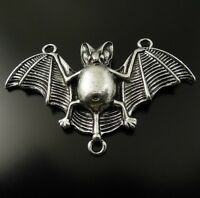 10X Vintage Style Silver Tone Bat Connector Pendant Charms Findings 47*25*5mm