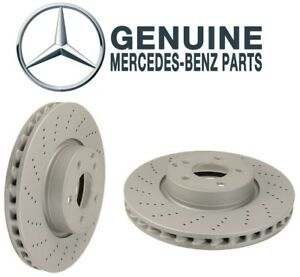 Pair Set of 2 Front Vented Cross Drilled Brake Discs OES For Benz C204 C207 W212