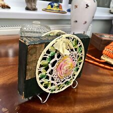 Vintage Crochet Letter Rack Quirky Retro Collectable. 1970 Desk Tidy Book Holder