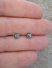 Small Rose Earrings, Sterling Silver Rose Flower Stud Earrings, Flower Jewelry