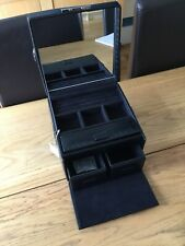 NEW Black Faux Crocodile Skin Jewellery Box Storage Case with Key