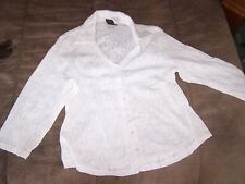 Pretty White Peek A Boo Blouse Size PL in Excellent Condition by I.N.C.