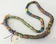 """Antique African Italian Trade Bead Necklace #H 55 Beads 21.5"""" OLD Millefiori"""