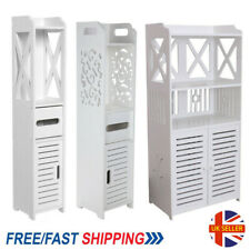 Wooden Bathroom Shelf Cabinet Cupboard White Bedroom Storage Unit -Free Standing