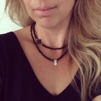 Black Crystal And Onyx Cross Choker Necklace Summer Bohemian Gypsy Hippie Style