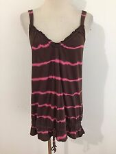 LUCKY BRAND Drop Waist Cami Tie Dye Rust w/Pink Stripes Small