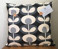 Orla Kiely **OVAL FLOWER**  Cool Grey Cotton  Cushion Cover 40cm