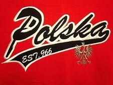 POLAND coat-of-arms lrg T shirt Established 966 tee White Eagle logo POLSKA sewn
