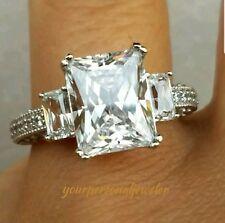 4.00C 14k White Gold Princess man made diamond Engagement Wedding Ring S 6.5