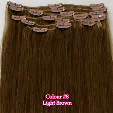"Full Head 16""18""20""22""24""26"" Clip in 100% Remy Real Human Hair Extensions"