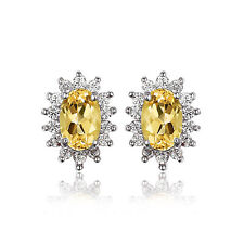 1.7ct 9mm  Citrine Earrings Solid Sterling Silver Special Occassion Gift