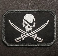 PIRATE SKULL & SWORDS TACTICAL CALICO JACK ARMY MORALE SWAT HOOK  PATCH