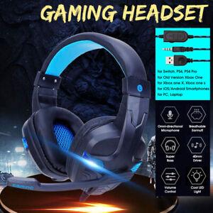 Cuffie Gaming Con Microfono Stereo Luce LED Controllo Volume Per PC PS4 XBOX 1